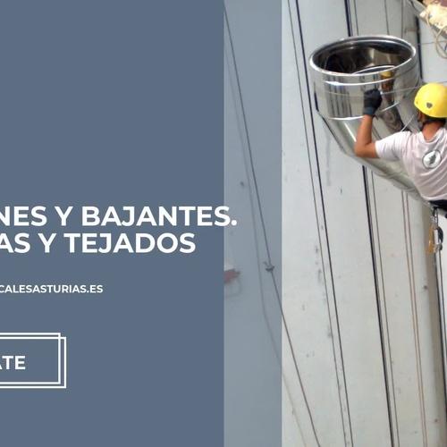 Canalones y bajantes en Asturias | Asturiana de Trabajos en Altura