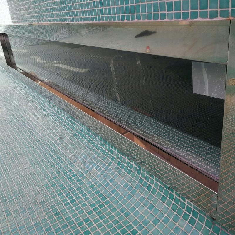 Ventana panorámica para interior de piscina de acero inoxidable y vidrio