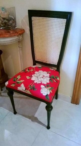 La silla anterior restaurada por una alumna