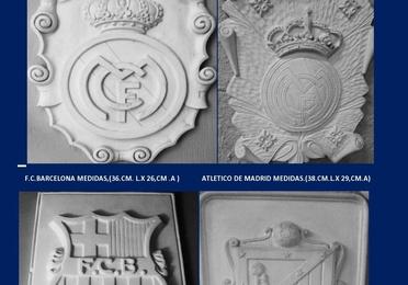 Escudos futbol y frentes de chimenea