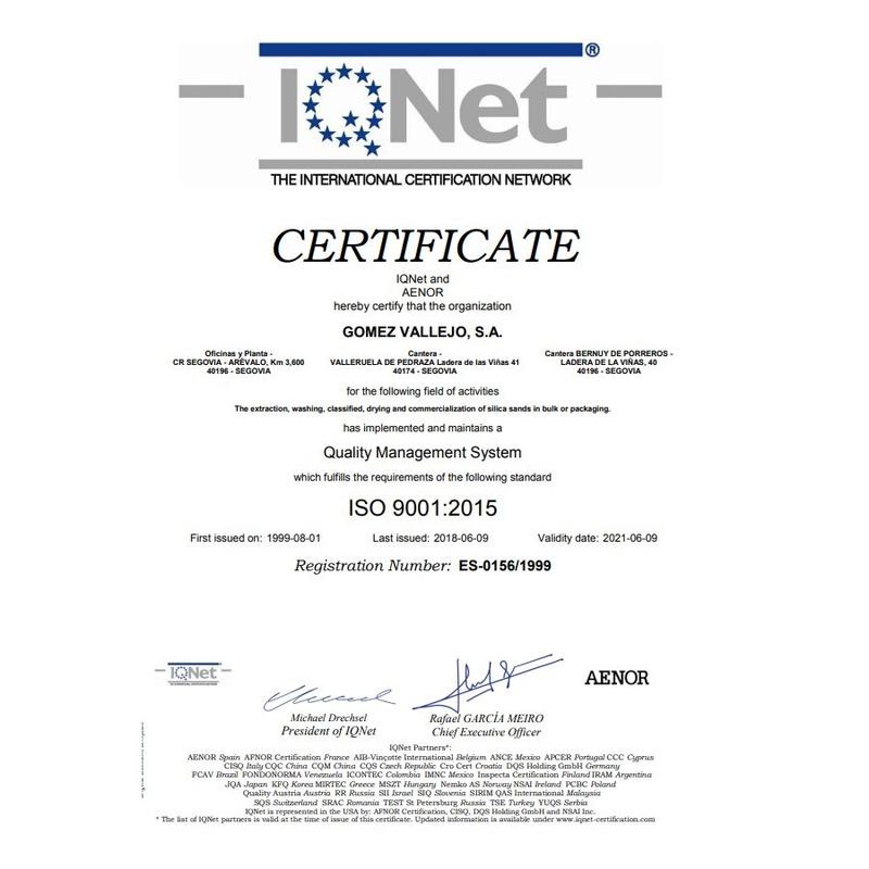 IQNet The International Certification Network: Productos y Servicios de Gómez Vallejo, S.A. Arenas Silíceas Especiales