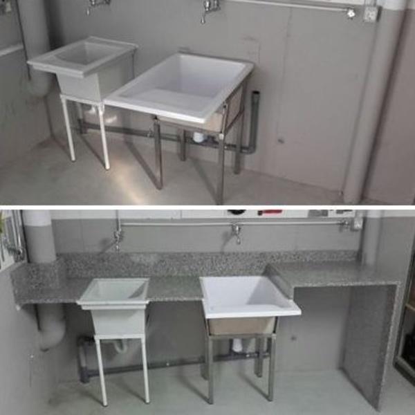 Lavadero, antes y después. Granito nacional.