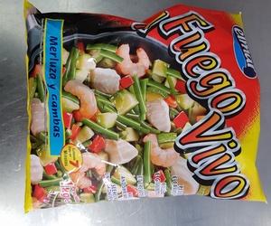 Congelados de marisco, pescado, verdura