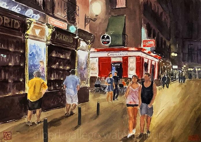 Madrid de nit. aquarella/paper.35x50cm. 600€.