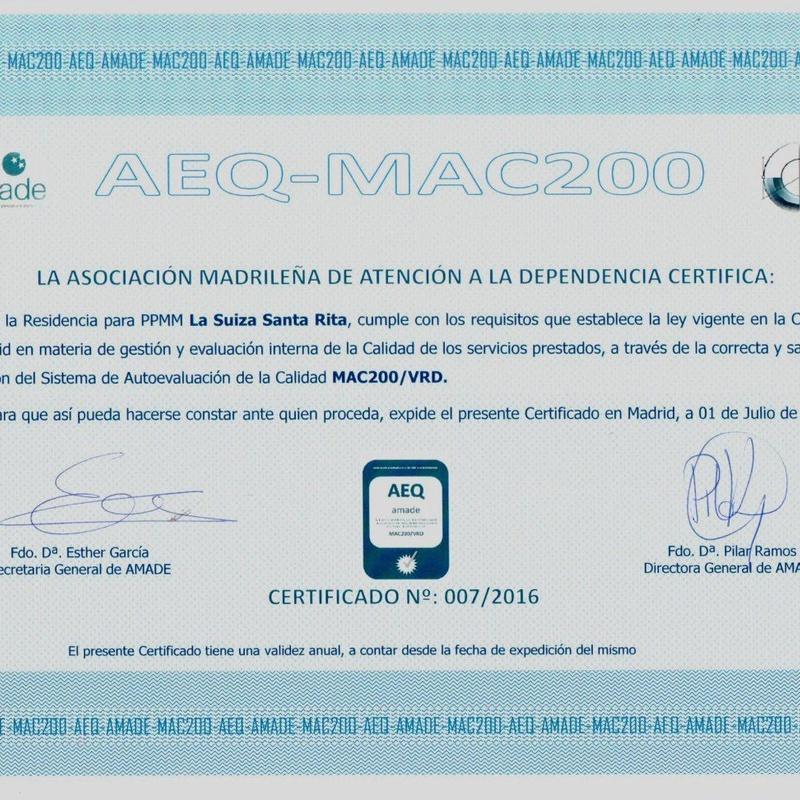 Certificado: Nuestra residencia de Residencia para la tercera edad La Suiza Santa Rita