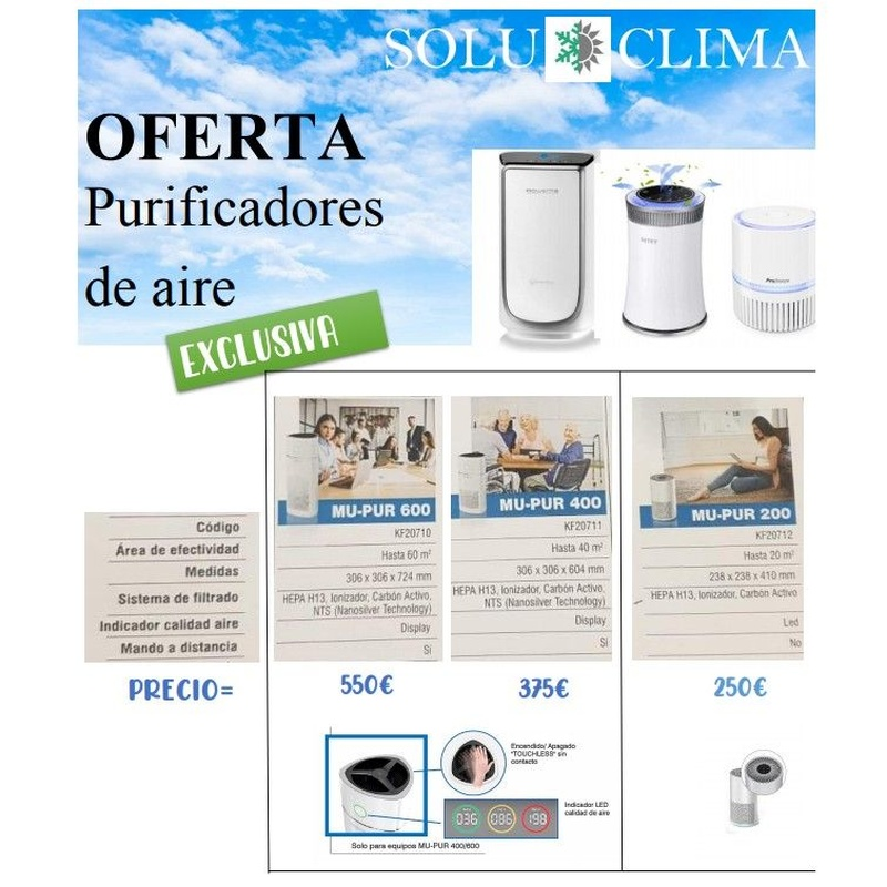 Ofertas de purificadores de aire: Servicios de Soluclima