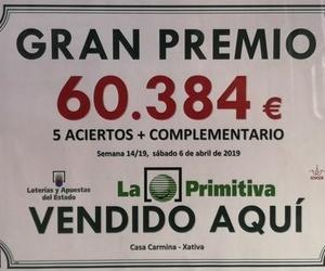 Premio Primitiva 5+C SABADO 6 DE ABRIL 2019