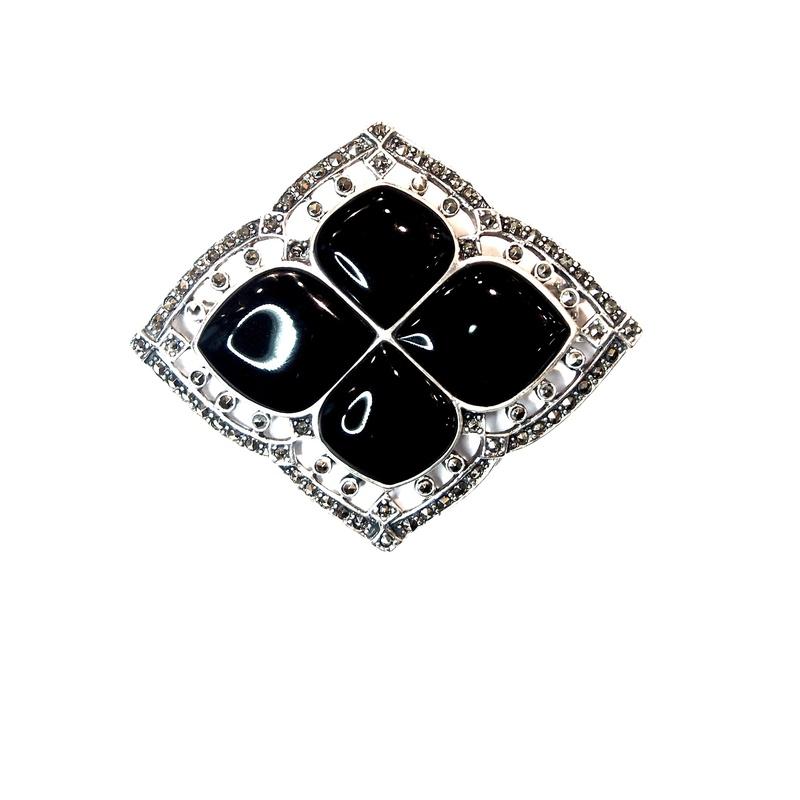 Broche de Plata de Ley, marcasitas y ónix. Ref.: AB-345/01: Catálogo de Antigua Joyeros