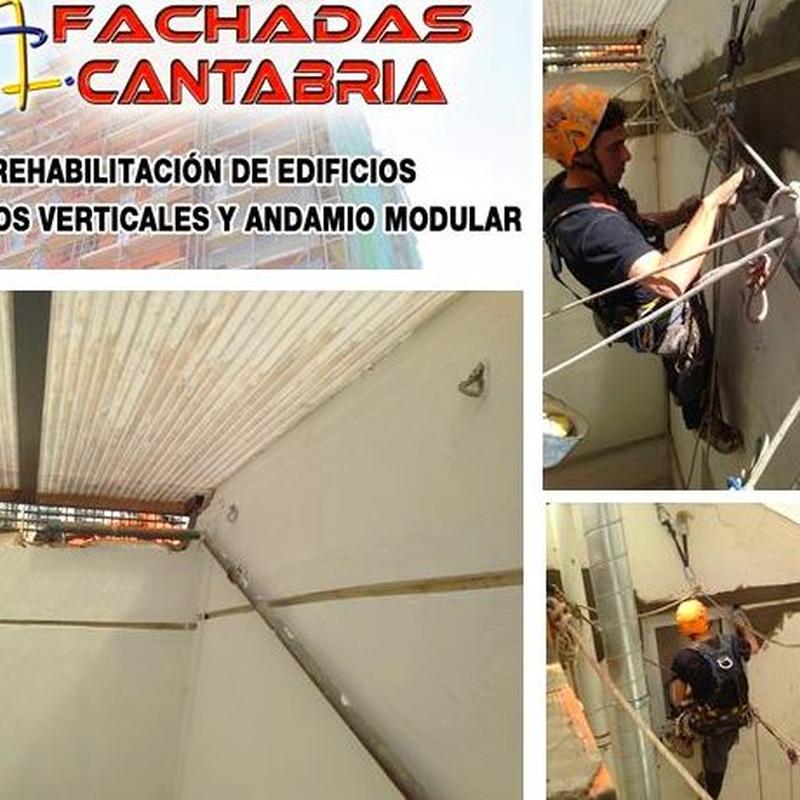 Formación de junta de dilatación. Trabajos verticales Cantabria. Albañiles verticalistas.