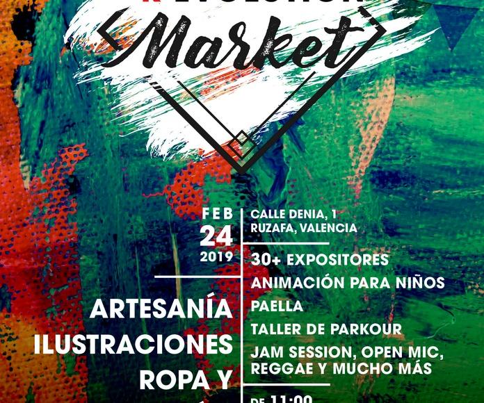 Mercadillo de artesanía, ilustraciones y ropa, Valencia, Ruzafa.