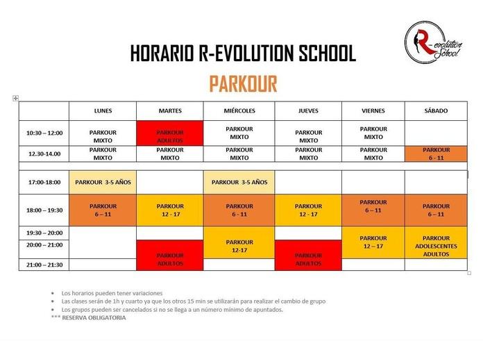 Horarios:  de R-evolution School