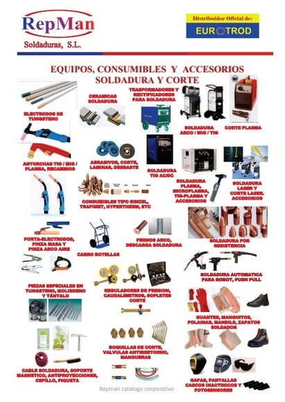 Equipos, consumibles y accesorios. Soldadura y corte: Productos y servicios de Repman Soldaduras