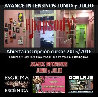 INTENSIVOS junio/julio:GUIÓN y/o INTERPRETACIÓN para MICROTEATRO/IniciaciónDOBLAJE/ESGRIMA ESCÉNICA