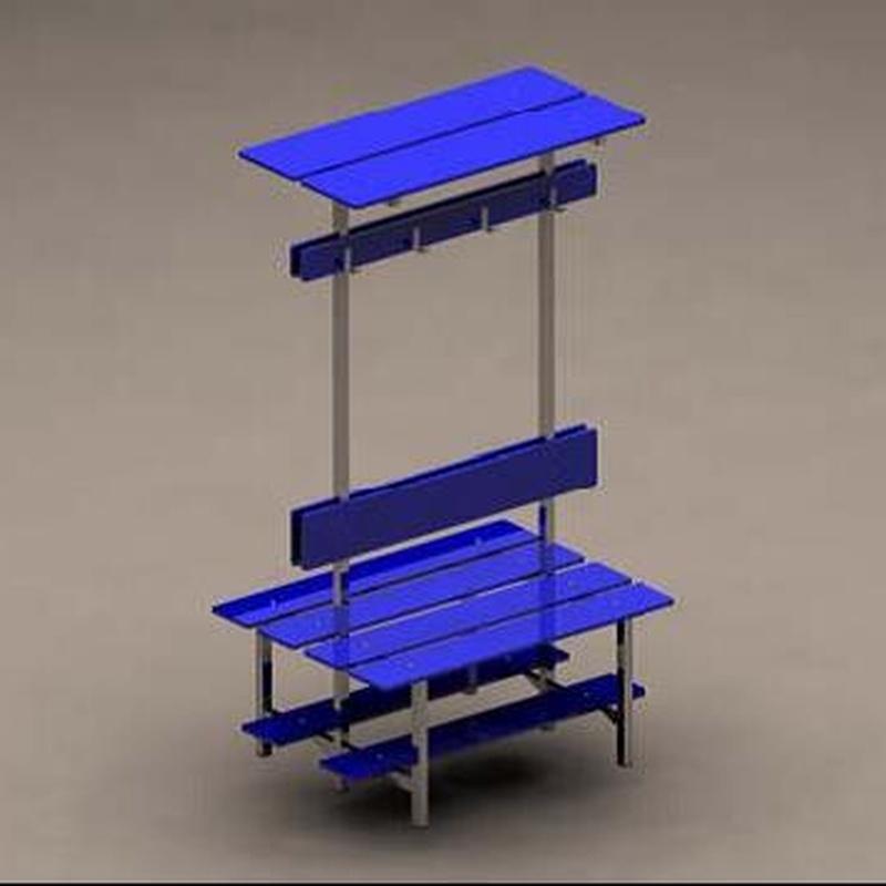Banco vestuario doble con respaldo, perchero y estante   IB8: Productos de Imfasa Cabinas Sanitarias