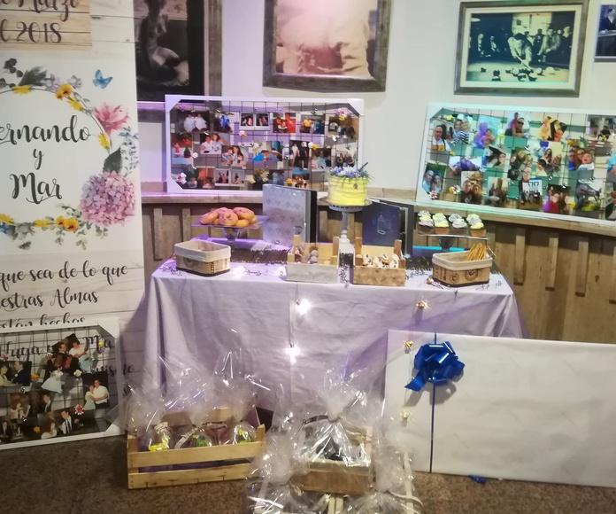 mesa dulce para boda 30 aniversario. Lila y amarillo