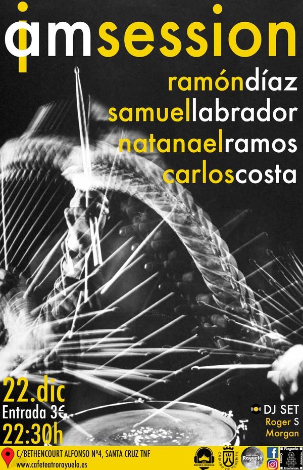 RAMÓN DÍAZ, SAMUEL LABRADOR, NATANAEL RAMOS y CARLOS COSTA en la jam session semanal del Café Teatro