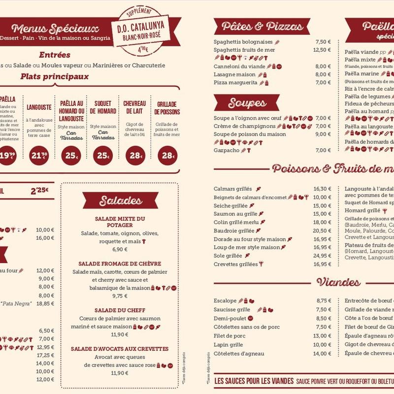 Carta menús especiales en francés: Carta y Menús de Cantarradas