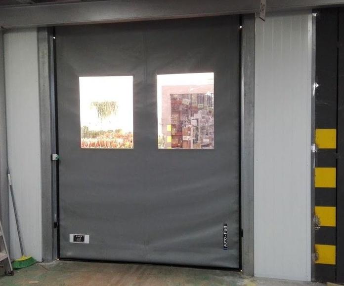 Puerta apertura rápida de lona de pvc enrollable autorreparable industrial