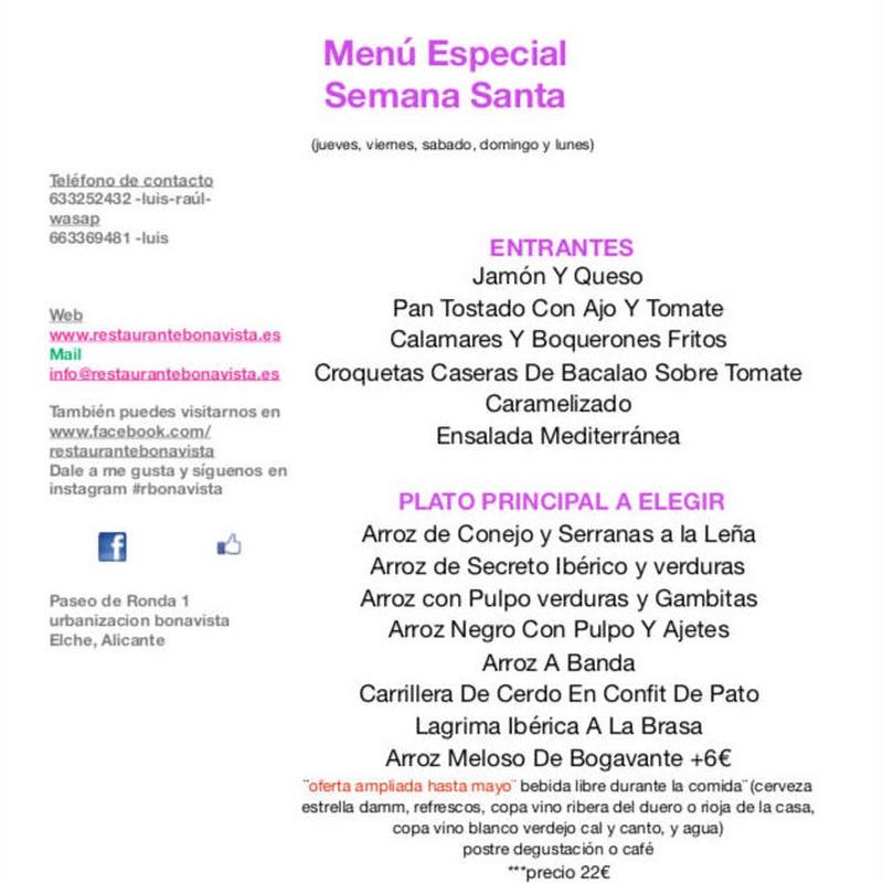 Menu Semana Santa: Carta y Menús of Restaurante Bonavista