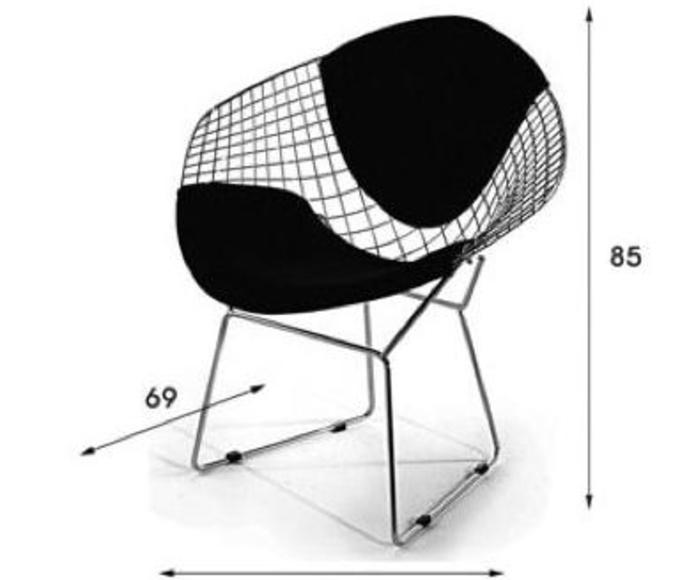 Sillón de diseño estructura metálica cromada con cojín de piel.Medidas:84x69x85alt.
