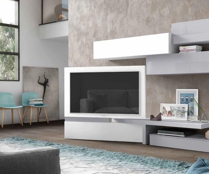 mueble de salón tonos blancos