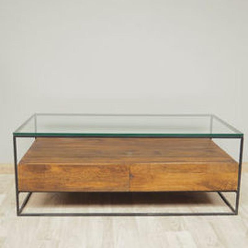 Mesa centro cristal y madera CHM-22077:  de Ste Odile Decoración