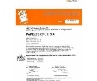 Destrucción confidencial de documentos : Servicios  de Papeles Cruz, S.A.