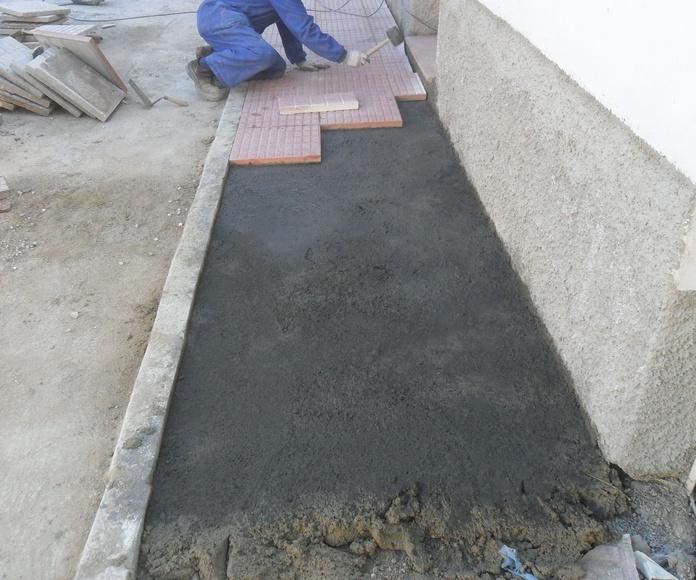 Pavimentación de una acera