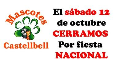 El próximo sábado día 12 de octubre Cerramos por fiesta Nacional
