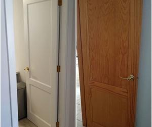 Trabajos de lacados, puerta de paso lacada en blanco