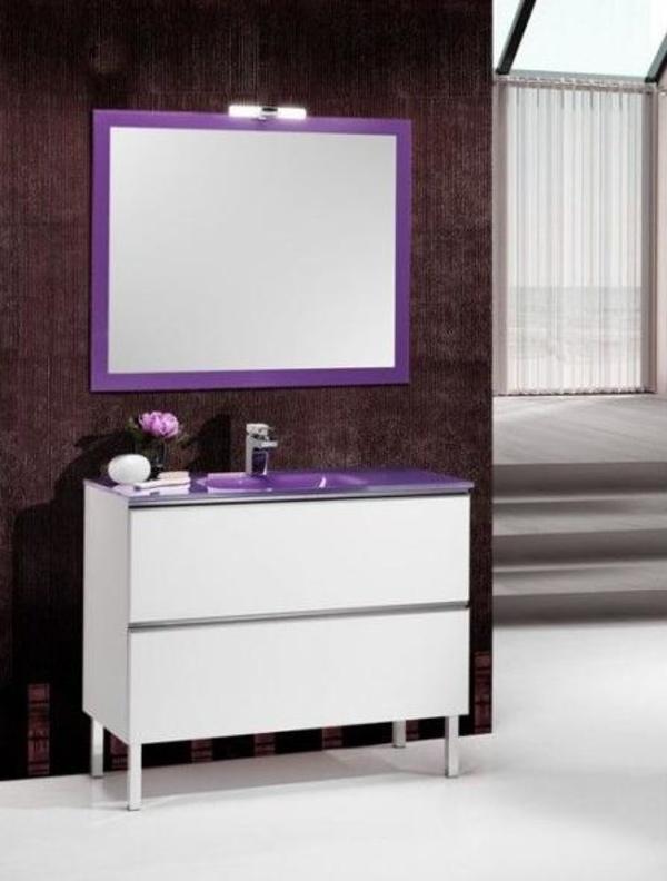 Mueble Rhin blanco de 80 con lavabo de cristal morado, espejo y foco