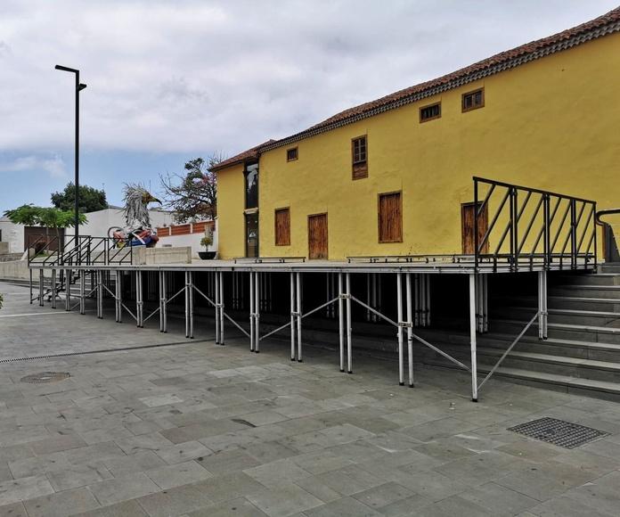 Montaje de escenarios en el Festival Boreal de Los Silos 2018