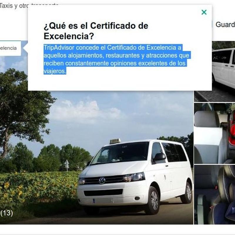 Su taxi con certificado de excelencia en Tossa de Mar