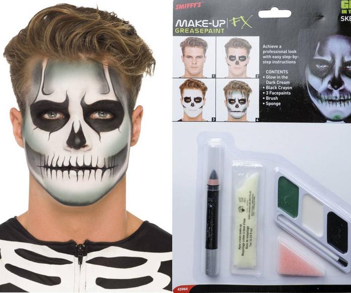 Kit maquillaje esqueleto brilla en la oscuridad