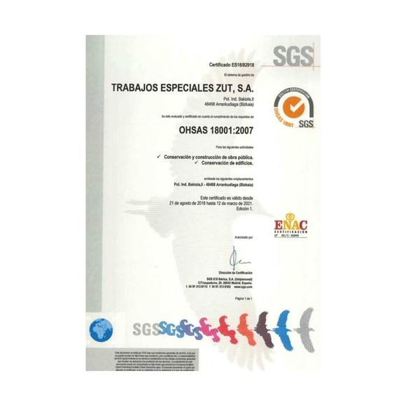 Certificación OHSAS 18001:2007. Medio ambiente y prevención de riesgos: Servicios de Trabajos Especiales ZUT