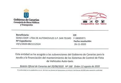 Subvención Gobierno de Canarias