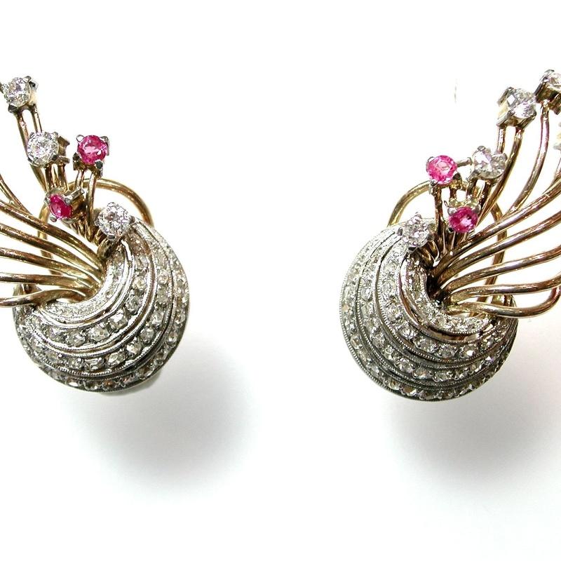 Pendientes de Diamantes y Zafiros Rosa.