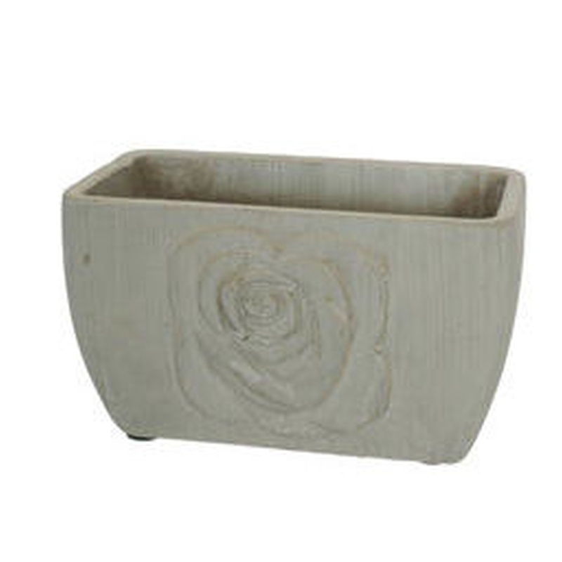 Macetero de cemento RECTANGULAR (18x10,5 H.10 cm.) COLOR: Gris PRECIO: 2,50 €
