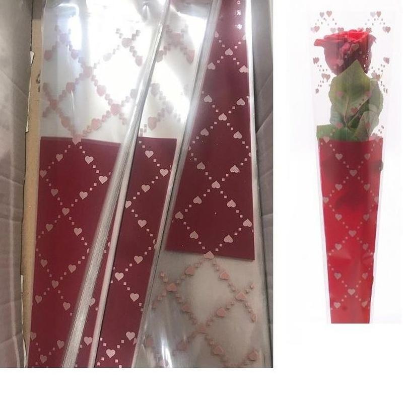 "PQTE x100UD FUNDA INDIVIDUAL PARA LA ROSA MODELO ""Foxy Flirt"" (45x12x3cm)/ ROJO REF: G18090 PRECIO: 5€/PQTE"
