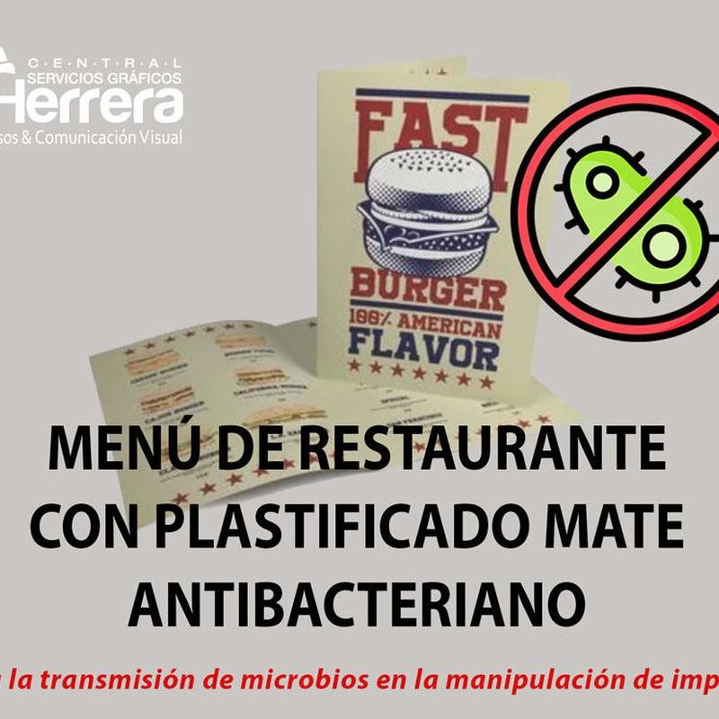 MENÚ DE RESTAURANTE CON PLASTIFICADO ANTIBACTERIANO