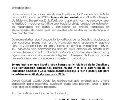 TRANSPOSICION PARCIAL DE LA DIRECTIVA EUROPEA DE EFICIENCIA ENERGETICA