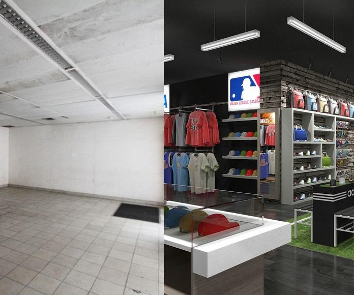 Diseño de local comercial para tienda de deportes en Barcelona.