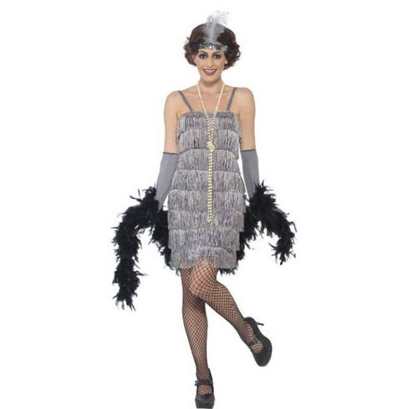 Disfraz años 20 gris plata mujer