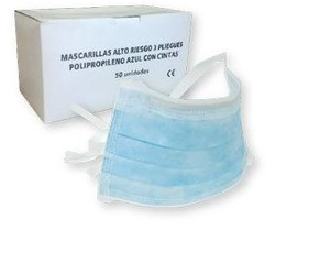 mascarilla quirurgica con cintas