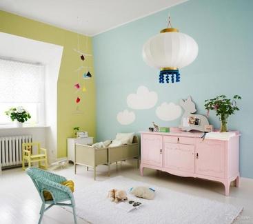 Dormitorio infantil tonos pastel