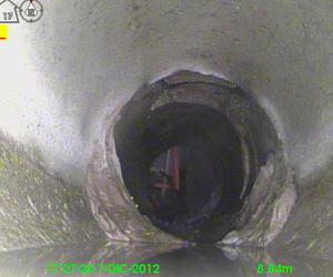 Tuberia colector de 300mm altura 289 bajo suelo video-inspeccion ates de fresar Irun