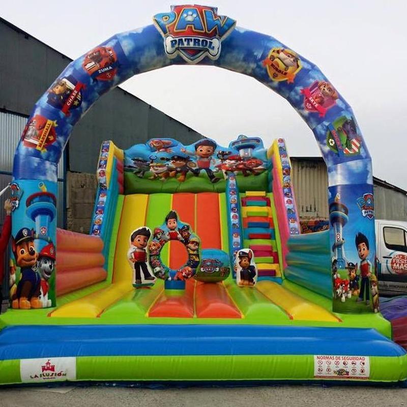 Castillo Hinchable super tobogán patrulla: Catálogo de Hinchables Happy Jump