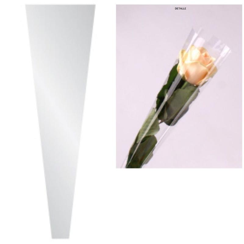 """PQTE x100 BOLSAS INDIVIDUALES MODELO """"Single Rose""""/ BOPP30 TRANSPARENTE// MEDIDA  (45x12x5cm) REF: G.1950 PRECIO: 3,00€/PQTE// MEDIDA (54x12x5CM) REF: G.1952 PRECIO: 4,00€/PQTE"""