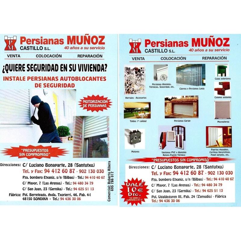Servicios: Productos y servicios de Persianas Muñoz Castillo, S. L.