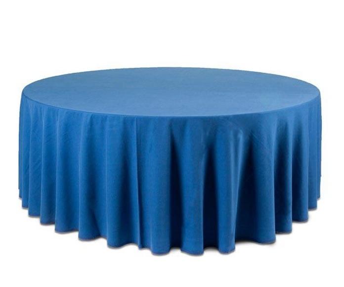 Mantel redondo azul: Alquiler de Mantelería & Menaje